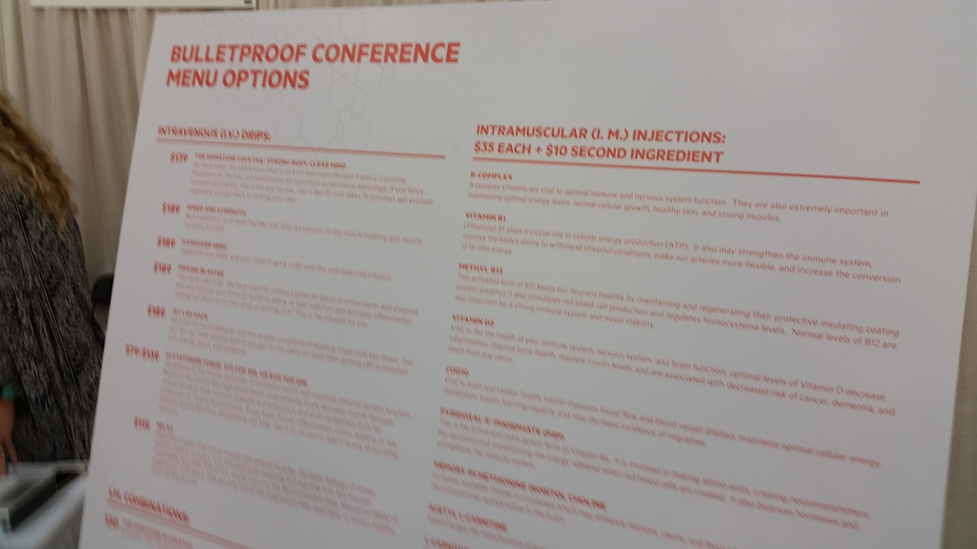 Menu options for the clinic at the Bulletproof Conference.