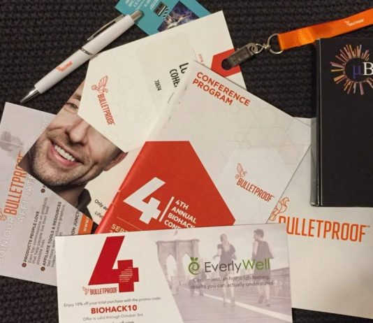 Bulletproof Biohacking Conference 2016 swag